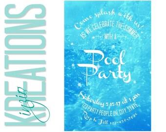 Pool party invitation - Adult pool party invitation