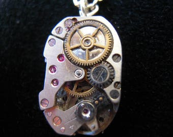Steampunk watch gears Ruby A513 man necklace