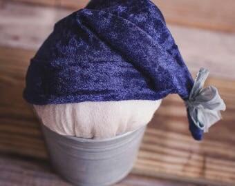 navy velvet sleepy hat - newborn prop