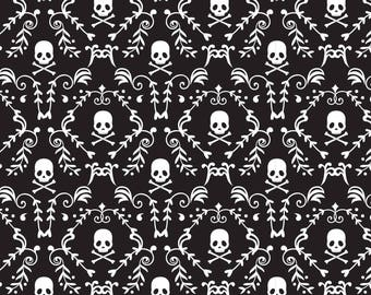 Punk Skulls Damask From The Punk Skulls & Roses Collection By David Textiles
