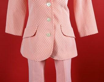 Koret of California Orange Checker Pantsuit 1970's