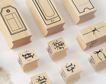 Label Stamp, Tag Stamps, Vintage Wooden Rubber Stamps, Diary Stamp Set
