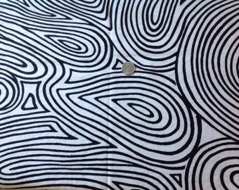 Black and white fingerprint design cotton fabric, vintage quilting fabric, Halloween costume material, swirl and spiral design