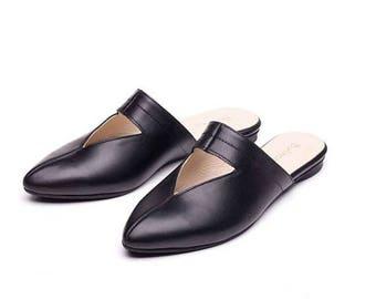 SALE Black mules, women shoes, women black shoes, black slip ons, black sandals, casual mules, handmade leather shoes by Burlinca. Lia model