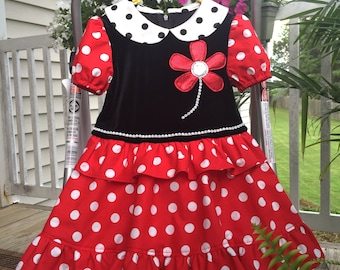 Minnie Mouse Costume , Girls Minnie Mouse Dress, Toddlers Minnie Mouse Dress, Baby Girl Minnie Mouse Dress, Black Red Dress Girl, Halloween