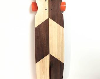 Handcrafted Longboard- Handmade from reclaimed walnut and aspen hardwood