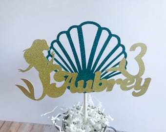Mermaid Personalized Cake topper, Glitter Mermaid Cake topper, Under the Sea cake topper