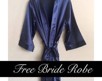Solid Bridesmaid Robes- Satin Kimono Robes for Bridesmaids in 11 colors