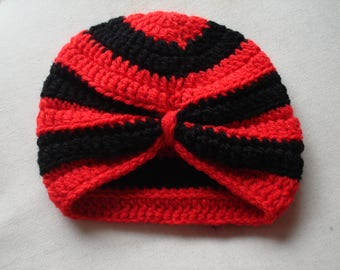 Baby Turban Crocheted in 8 ply Acrylic Yarn in Red and Black