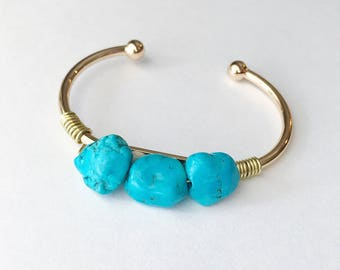 Wire Wrapped Turquoise Howlite Stone Bangle Cuff