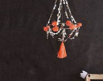 Pajaki Chandelier, Pajaki, Chandelier, Party Mobile, Paper Chandelier, Mobile, Silver, Holiday Decor, Chandelier Decoration