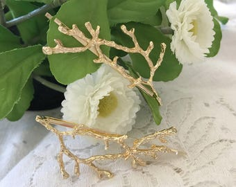Gold Leaf Hair Pin, Gold Leaves Hair Clip, Twig Hair Pin, Wedding Hair piece, Bridal Hair Pins,Bobby Pin,Boho Hair Accessories