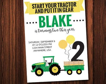 Put It In Gear - Tractor Themed, John Deere Inspired Kids Birthday Party Invitation