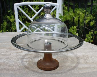 Dorothy Thorpe Style Glass Pedestal Plate Stand with Dome Lid