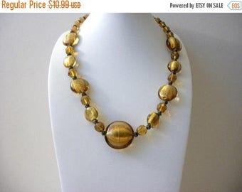 ON SALE Vintage Hand Made Foil Gold Tone Glass Necklace 9617