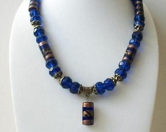 ON SALE Vintage 1950s Cobalt Blue Hand Made Czech Glass Heavier Necklace 62216