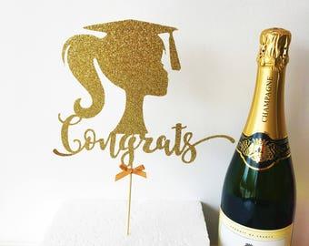 Graduation Cake Topper, Black Glitter, Graduate Party, Centrepiece, University, College Grad, Congratulations, Celebration, Well Done