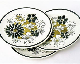 """Three Mikasa Leilani Salad Plates - Set of 3 in the Cera-Stone Series - Black White Flowers Olive Green Floral Pattern, Made in Japan 7 5/8"""""""