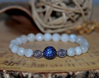 Moonstone bracelet, Beaded Bracelet, Gemstone Bracelet, Gift for Her, Gift Idea, Women's Bracelet, Boho Jewelry, Fancy Bracelet