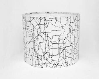 Monochrome Cylinder Drum Lampshade / Ceiling Shade / Table / Bedside  Lamp 30cm