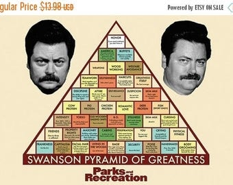 Back to School Sale: RON SWANSON Pyramid of Greatness Poster 36x24 inches Parks and Rec