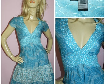 Vintage 90s Blue/White Contrast Print MARC JACOBS Tiered Tea dress 8-10Uk 4-6Us S 1990s