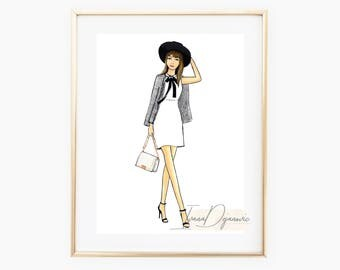 About A Style  Fashion Illustration Art Print,Watercolor Fashion Sketch Print, Wall Art Print,Outfit Sketch,Fashion Blogger