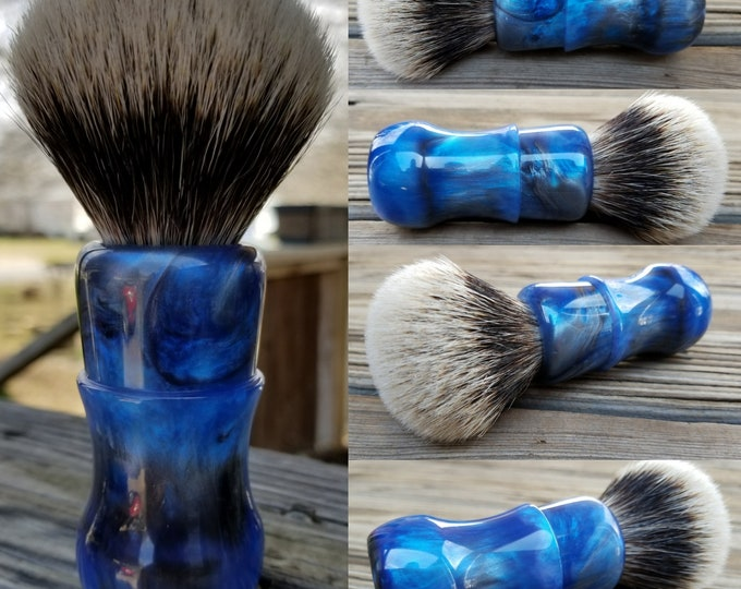 Handpoured Blue and Silver Pearl Shaving Brush, Handmade, Free Shipping