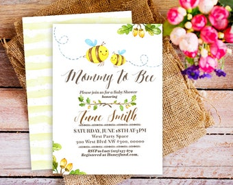 Mommy To Bee Invitation Baby Shower Invite Bumble Printable Honey