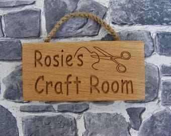 Personalised Carved Rustic Oak Craft Room Plaque/Scissors Design/Rope hanger/Engraved Wooden Sign/Birthday Gift