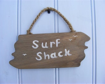 Surf Shack Painted Wooden Hanging Sign Shabby Chic Rustic Driftwood Style