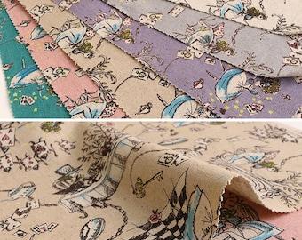 1 meter Kei Fabric Japan - Alice In Wonderland - MIYAKO-013 - Color D - Beige - Cotton Linen