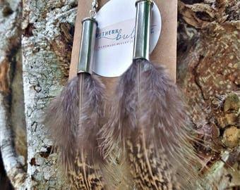 Southern bullets. Bullet feather earrings. Handmade. 22cal. Boho chic. Bullet earrings. Dangle. Hook drop. Wedding