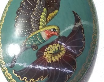 Vintage Wooden Hand Painted Hummingbird pin brooch Signed