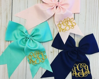 Large Monogrammed Bow - Monogrammed Bow - Embroidered Bows -Monogrammed Cheer Bows