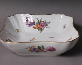 """Royal Copenhagen Denmark Saxon Flower 8"""" Square Vegetable Bowl 1221 #2"""