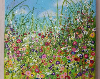 Summer Memories. Original acrylic, floral meadow painting on box canvas.