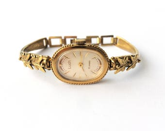 Women's gold watch Luch, woman's classic wrist watch, womens watch, soviet watch, Vintage watch, Mechanical watch, gift for her USSR 70s