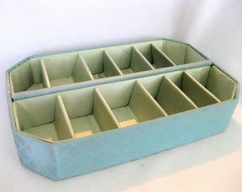 vintage 50s lingerie drawer organizer boudoir box  quiled pale blue doube  row design