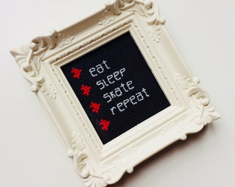 Eat Sleep Skate Repeat | Roller Derby | Skater | Heart | To Do | Love | Derby Girl | Gift | Framed | Cross Stitch |
