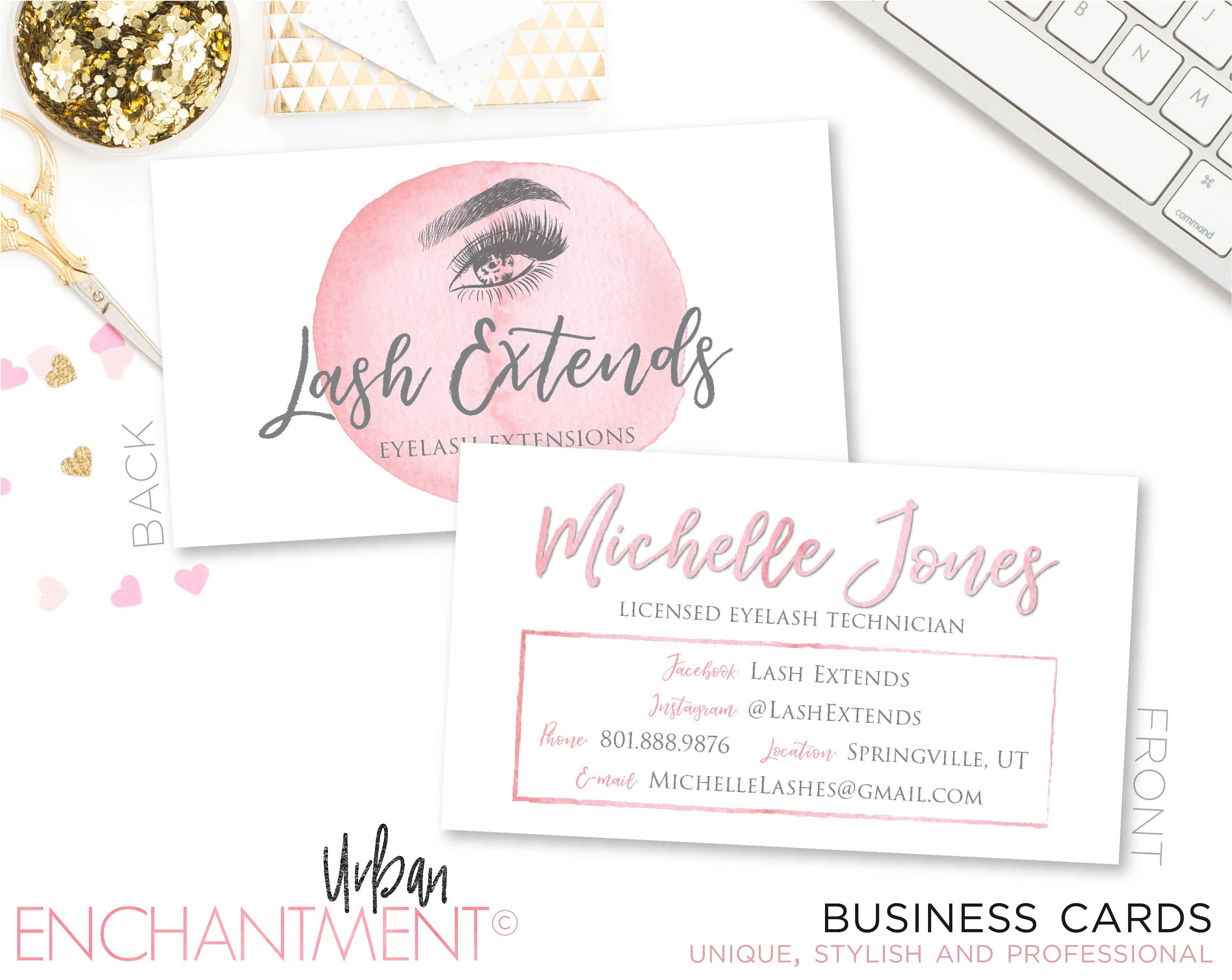 Eyelash extension business card pink watercolor eyelash zoom magicingreecefo Image collections