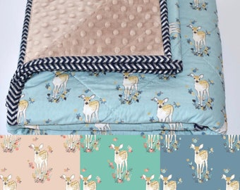 SALE - little fawn Quilt, baby quilt, woodland nursery, deer, fawn, baby girl, coral, blanket, crib bedding
