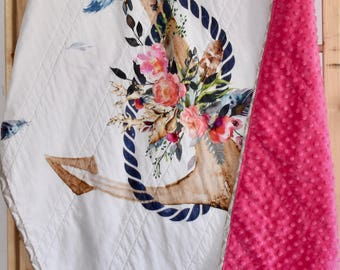 Floral anchor crib quilt, baby girl nursery, nautical, anchors, under the sea, shabby chic, fuchsia pink, baby shower gift