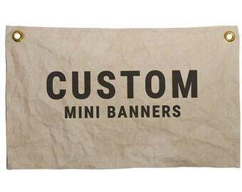 Custom Mini Banners, custom canvas flag, custom flags, handmade flags, customizable flag, custom banner, holiday gift ideas, man cave