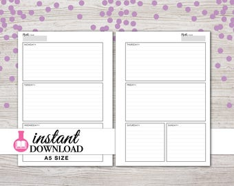 A5 Planner Printable - Weekly Inserts - Horizontal - Filofax A5 - Kikki K Large - Design: Wanderlust