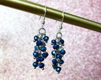 Denim blue dangle cluster earrings