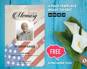 RETRO MILITARY ARMY   Funeral Program Template, Obituary Program, Memorial Program Template, Microsoft Word & Publisher Template