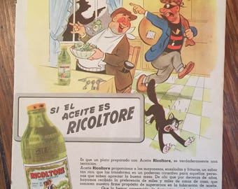 """Cooking oil """"RICOLTORE"""" vintage ad (1948)"""