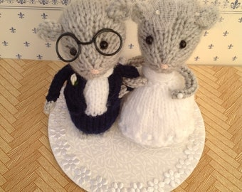 knitted mice wedding cake toppers wedding cake toppers etsy uk 16653