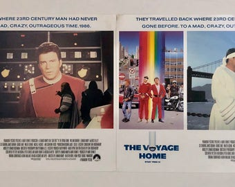 Star Trek Lobby Posters, The Voyage Home, 2 Vintage Lobby Cards, Star Trek Movie, 1980s Movie Poster, Star Trek IV, Time Travel